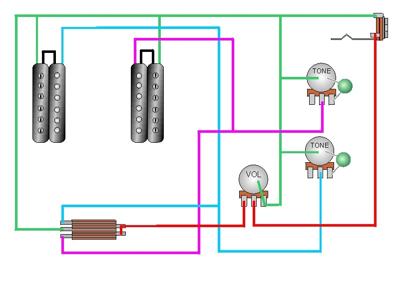 1 vol, 2 tone, 3-way selector switch, view diagram