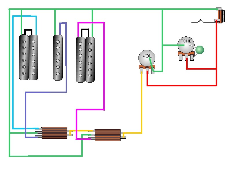craig s giutar tech resource wiring diagrams 2 humbuckers 1 single coil 1 vol 1 tone 2 3 way selector switches view diagram