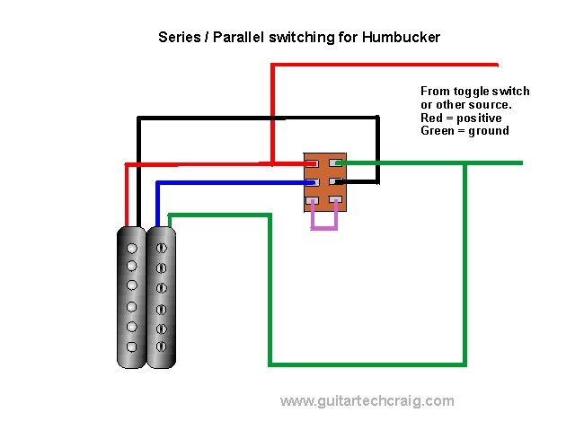 series / parallel coil switching for humbucker, view diagram